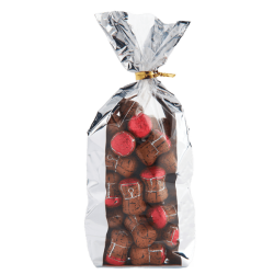 Bag of cork-shaped praline chocolates