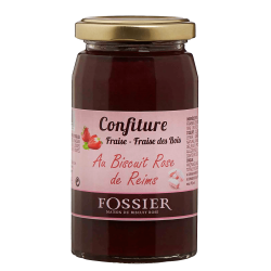 Strawberry jam with Pink Biscuit of Reims